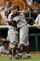 Arizona State Sun Devil pitcher Mitchell Lambson #40 hugs his catcher Austin Barnes after closing out the game against the Texas Longhorns in NCAA Tournament Super Regional baseball on June 10, 2011 at Disch Falk Field in Austin, Texas. (Photo by Andrew Woolley / Four Seam Images)
