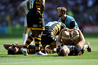 Exhausted Wasps players during the Premiership Rugby Final at Twickenham Stadium on Saturday 27th May 2017 (Photo by Rob Munro)