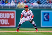 15 April 2018: Washington Nationals infielder Wilmer Difo in action against the Colorado Rockies at Nationals Park in Washington, DC. All MLB players wore Number 42 to commemorate the life of Jackie Robinson and to celebrate Black Heritage Day in pro baseball. The Rockies edged out the Nationals 6-5 to take the final game of their 4-game series. Mandatory Credit: Ed Wolfstein Photo *** RAW (NEF) Image File Available ***