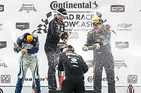 IMSA Continental Tire SportsCar Challenge<br /> Road America 120<br /> Road America, Elkhart Lake, WI USA<br /> Saturday 5 August 2017<br /> 27, Mazda, Mazda MX-5, ST, Britt Casey Jr, Tom Long, 25, Mazda, Mazda MX-5, ST, Chad McCumbee, Stevan McAleer, 56, Porsche, Porsche Cayman, ST, Jeff Mosing, Eric Foss, podium, champagne<br /> World Copyright: Michael L. Levitt<br /> LAT Images