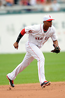 Pawtucket Red Sox shortstop Xander Bogaerts #16 during a game versus the Buffalo Bisons at McCoy Stadium in Pawtucket, Rhode Island on June 16, 2013.  (Ken Babbitt/Four Seam Images)