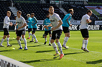 12th September 2020; Pride Park, Derby, East Midlands; English Championship Football, Derby County versus Reading; Mike Te Wierik of Derby County warming up with the Derby County players before the match