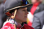 Inez Karlsson after riding Rahystrada to victory in the 5th race at Keeneland Race Course. 04.08.2010