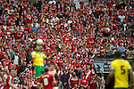 Norwich City 2 Middlesbrough 0, 25/05/2015. Wembley Stadium, Championship Play Off Final. A header won by Bradley Johnson in front of the Middlesbrough supporters. A match worth £120m to the victors. On the day Norwich City secured an instant return to the Premier League with victory over Middlesbrough in front of 85,656. Photo by Simon Gill.