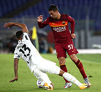 Football, Serie A: AS Roma - Juventus, Olympic stadium, Rome, September 27, 2020. <br /> Roma's Leonardo Spinazzola (r) in action with Juventus Danilo (l) during the Italian Serie A football match between Roma and Juventus at Olympic stadium in Rome, on September 27, 2020. <br /> UPDATE IMAGES PRESS/Isabella Bonotto