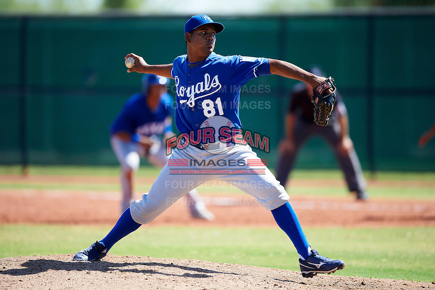 Kansas City Royals minor league pitcher Igor Feliz #81 during an instructional league game against the Texas Rangers at the Surprise Stadium Minor League Complex on October 10, 2012 in Surprise, Arizona. (Mike Janes/Four Seam Images)