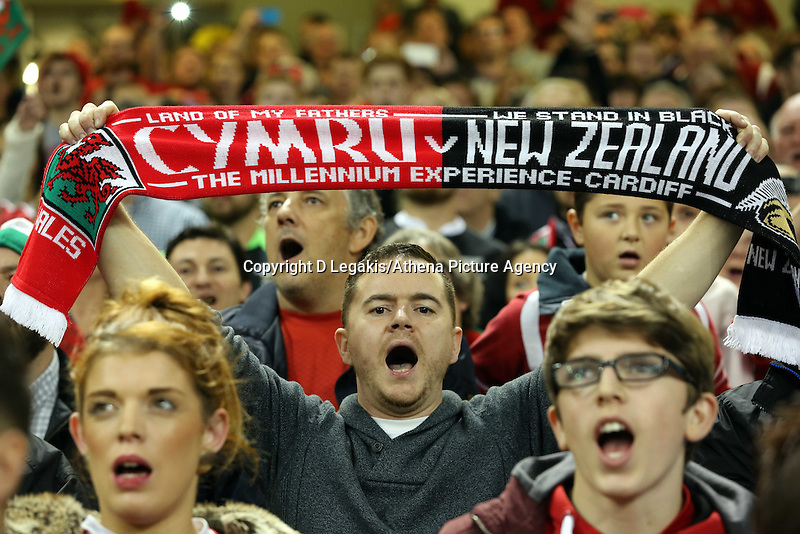 Pictured: A male welsh supporter with a scarf Saturday 22 November 2014<br /> Re: Dove Men Series 2014 rugby, Wales v New Zealand at the Millennium Stadium, Cardiff, south Wales, UK.