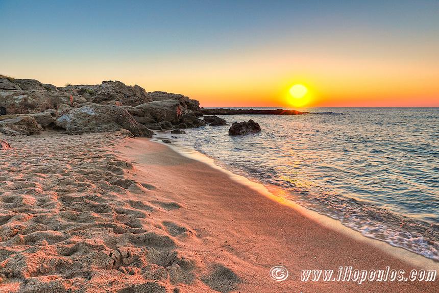 Sunset at the beach Falassarna in Crete, Greece
