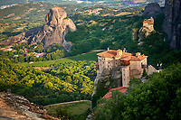 Medieval Meteora  Monastery of Roussanou on top of a rock pillar in the Meteora Mountains, Thessaly, Greece