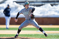 Marshall Thundering Herd starting pitcher Josh King (11) in action against the Georgetown Hoyas at Wake Forest Baseball Park on February 15, 2014 in Winston-Salem, North Carolina.  The Thundering Herd defeated the Hoyas 5-1.  (Brian Westerholt/Four Seam Images)