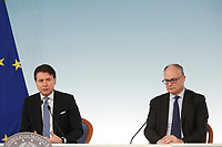 Giuseppe Conte e Roberto Gualtieri<br /> Rome March 5th 2020. Press conference at the end of the Italian Council of Ministers about the economic impact of Coronavirus (Covid-19) outbreak and about the measures the Government will take to face up the crisis.<br /> Photo Samantha Zucchi Insidefoto