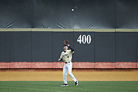 Wake Forest Demon Deacons center fielder DJ Poteet settles under a fly ball during the game against the Notre Dame Fighting Irish at David F. Couch Ballpark on March 10, 2019 in  Winston-Salem, North Carolina. The Demon Deacons defeated the Fighting Irish 7-4 in game one of a double-header.  (Brian Westerholt/Four Seam Images)