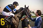Shared Belief greeted by Jim Rome ridden by Corey Nakatani wins the Cash Call Futurity on December 14, 2013 at Betfair Hollywood Park in Inglewood, California .(Alex Evers/ Eclipse Sportswire)