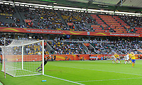 Lisa Dahlkvist (r) of team Sweden scores 1:0 against Hope Solo of team USA during the FIFA Women's World Cup at the FIFA Stadium in Wolfsburg, Germany on July 6thd, 2011.