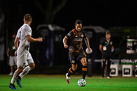 LAKE BUENA VISTA, FL - JULY 23: Niko Hansen #12 of the Houston Dynamo dribbles the ball during a game between Los Angeles Galaxy and Houston Dynamo at ESPN Wide World of Sports on July 23, 2020 in Lake Buena Vista, Florida.