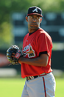 Pitcher Carlos Fisher (40) of the Atlanta Braves farm system in a Minor League Spring Training workout on Tuesday, March 17, 2015, at the ESPN Wide World of Sports Complex in Lake Buena Vista, Florida. (Tom Priddy/Four Seam Images)