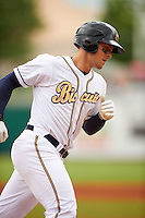 Montgomery Biscuits third baseman Richie Shaffer (8) runs the bases after hitting a home run during a game against the Jackson Generals on April 29, 2015 at Riverwalk Stadium in Montgomery, Alabama.  Jackson defeated Montgomery 4-3.  (Mike Janes/Four Seam Images)