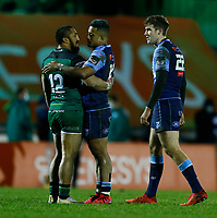 20th February 2021; Galway Sportsgrounds, Galway, Connacht, Ireland; Guinness Pro 14 Rugby, Connacht versus Cardiff Blues; Rey Lee-Lo (Cardiff Blues) congratulates Bundee Aki (Connacht) at full time