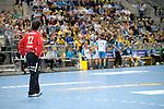 GER - Mannheim, Germany, September 23: During the DKB Handball Bundesliga match between Rhein-Neckar Loewen (yellow) and TVB 1898 Stuttgart (white) on September 23, 2015 at SAP Arena in Mannheim, Germany. Final score 31-20 (19-8) . (Photo by Dirk Markgraf / www.265-images.com) *** Local caption *** Darko Stanic #12 of Rhein-Neckar Loewen