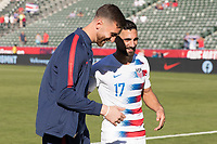 CARSON, CA - FEBRUARY 1: Matt Turner celebrates with Sebastian Lletget #17 of the United States after the match during a game between Costa Rica and USMNT at Dignity Health Sports Park on February 1, 2020 in Carson, California during a game between Costa Rica and USMNT at Dignity Health Sports Park on February 1, 2020 in Carson, California.
