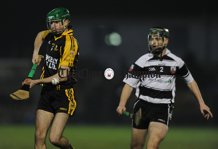 Ryan Griffin of Ballyea in action against Dylan Broderick of Clarecastle during their U-21 championship quarter final at Sixmilebridge. Photograph by John Kelly.