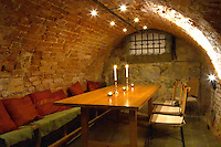 A basement storage room converted to a vaulted wine tasting room in a cellar in Gamla Stan The Old Town Stockholm, Sweden, Sverige, Europe