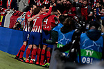Atletico de Madrid's players celebrate goal (anulated) during UEFA Champions League match, Round of 16, 1st leg between Atletico de Madrid and Juventus at Wanda Metropolitano Stadium in Madrid, Spain. February 20, 2019. (ALTERPHOTOS/A. Perez Meca)