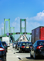 Heavy traffic crossing the Delaware Memorial Bridge, Delaware, USA