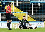 Greenock Morton v St Johnstone….09.07.19      Cappielow        Pre-Season Friendly<br />Zander Clark goes down injured<br />Picture by Graeme Hart. <br />Copyright Perthshire Picture Agency<br />Tel: 01738 623350  Mobile: 07990 594431