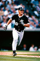 Magglio Ordonez of the Chicago White Sox plays in a baseball game at Edison International Field during the 1998 season in Anaheim, California. (Larry Goren/Four Seam Images)