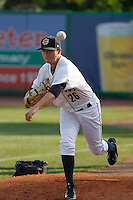 Charleston RiverDogs pitcher Justin Kamplain (26) on the mound before a game against the Hickory Crawdads at Joseph P. Riley Jr. Ballpark on May 2, 2015 in Charleston, South Carolina. Hickory defeated Charleston 4-1. (Robert Gurganus/Four Seam Images)