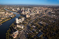 Beautiful aerial view from a helicopter of the Austin skyline and heavy traffic on IH-35 around downtown Austin