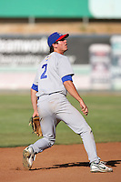 May 16, 2010: Grant Green of the Stockton Ports during game against the High Desert Mavericks at Mavericks Stadium in Adelanto,CA.  Photo by Larry Goren/Four Seam Images