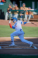 Andy Pages (18) of the Ogden Raptors at bat against the Rocky Mountain Vibes at Lindquist Field on July 6, 2019 in Ogden, Utah. The Vibes defeated the Raptors 7-2. (Stephen Smith/Four Seam Images)