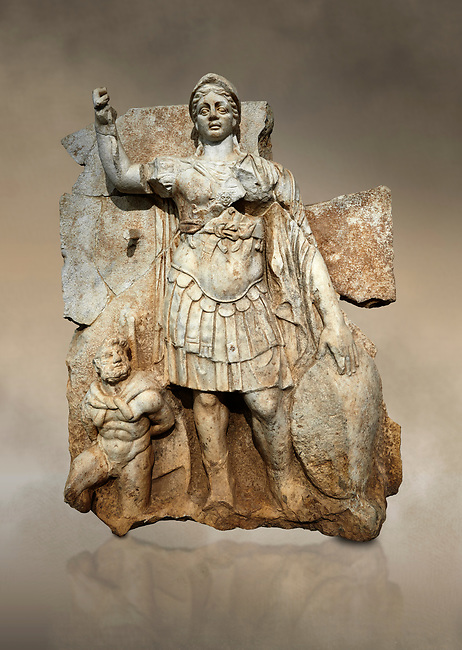 Roman Sebasteion relief  sculpture of Roma armed, Aphrodisias Museum, Aphrodisias, Turkey.  Against an art background.<br /> <br /> Roma is equipped with a spear, helmet, round shield and imperial style armour. Blow crouches a naked bearded prisoner, with hands tied behind his back and a skin knotted around his neck. He turns to look up at Roma