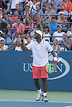Donald Young USA) goes five sets to defeat Viktor Troicki (SRB) 4-6, 06, 7-6, 6-2, 6-4 at the US Open in Flushing, NY on September 5, 2015.
