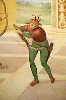 """Italien, Umbrien, Fresko """"Martyrium des heiligen Sebastian"""" von Perugino in der Kirche San Sebastiano in Panicale, gemalt 1505"""