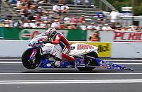 Jun. 2, 2013; Englishtown, NJ, USA: NHRA pro stock motorcycle rider Hector Arana Sr during the Summer Nationals at Raceway Park. Mandatory Credit: Mark J. Rebilas-