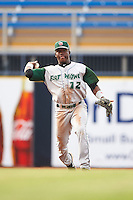 Fort Wayne TinCaps shortstop Ruddy Giron (12) throws to first during a game against the Lake County Captains on May 20, 2015 at Classic Park in Eastlake, Ohio.  Lake County defeated Fort Wayne 4-3.  (Mike Janes/Four Seam Images)