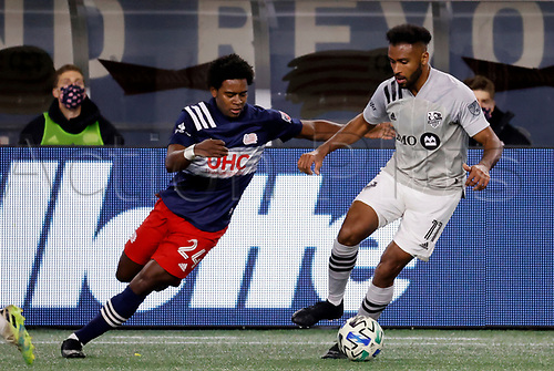 20th November 2020; Foxborough, MA, USA;  Montreal Impact forward Anthony Jackson-Hamel moves away from New England Revolution midfielder DeJuan Jones during the MLS Cup Play-In game between the New England Revolution and the Montreal Impact