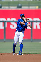 Kansas City Royals second baseman Gabriel Cancel (14) on defense during an Instructional League game against the Cincinnati Reds on October 2, 2017 at Surprise Stadium in Surprise, Arizona. (Zachary Lucy/Four Seam Images)