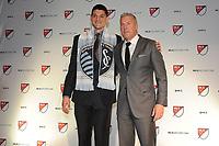 Philadelphia, PA - Thursday January 19, 2018: Eric Dick, Peter Vermes  during the 2018 MLS SuperDraft at the Pennsylvania Convention Center.