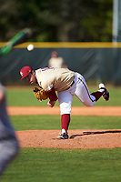Boston College Eagles relief pitcher Carmen Giampetruzzi (14) delivers a pitch during a game against the Central Michigan Chippewas on March 3, 2017 at North Charlotte Regional Park in Port Charlotte, Florida.  Boston College defeated Central Michigan 5-4.  (Mike Janes/Four Seam Images)