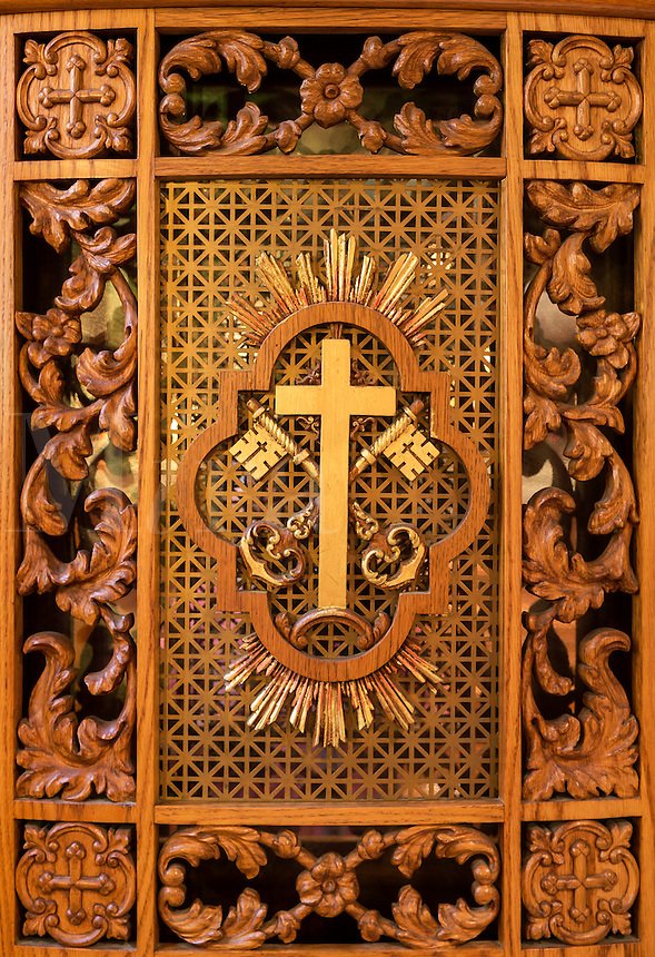 Ornate confessional box detail at the National Shrine of Divine Mercy, Stockbridge, Massachusetts, USA
