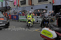 "The emergency vehicles prepare for the start of the race during the Abergavenny Festival of Cycling ""Grand Prix of Wales"" race on Sunday 17th 2016<br /> <br /> <br /> Jeff Thomas Photography -  www.jaypics.photoshelter.com - <br /> e-mail swansea1001@hotmail.co.uk -<br /> Mob: 07837 386244 -"