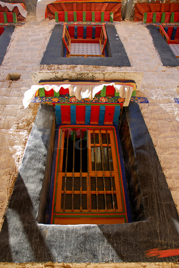 Traditional Tibetan window decoration with black surround, colorfully painted, with valance, Lhasa, Tibet, China.