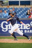 Wilmington Blue Rocks third baseman Wander Franco (12) at bat during the second game of a doubleheader against the Frederick Keys on May 14, 2017 at Daniel S. Frawley Stadium in Wilmington, Delaware.  Wilmington defeated Frederick 3-1.  (Mike Janes/Four Seam Images)