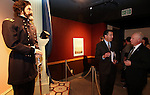 "Gov. Brian Sandoval and state Museums and History Director Peter Barton talk at the ""Finding Fremont: Pathfinder of the West"" exhibit grand opening at the Nevada State Museum, in Carson City, Nev., on Wednesday, Jan. 29, 2014. (Las Vegas Review-Journal/Cathleen Allison)"