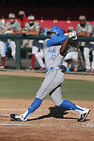 Emanuel Dean (12) of the UCLA Bruins bats against the USC Trojans at Dedeaux Field on March 28, 2021 in Los Angeles, California. UCLA defeated USC, 13-1. (Larry Goren/Four Seam Images)