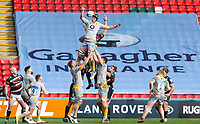 20th February 2021; Welford Road Stadium, Leicester, Midlands, England; Premiership Rugby, Leicester Tigers versus Wasps; James Gaskell of Wasps deflects the ball during a line out